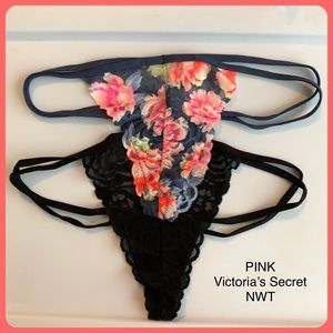 VS PINK Lace Thong Black Floral Panties NWT